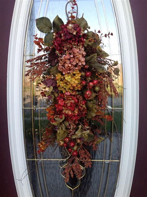 reserved fall wreath thanksgiving teardrop vertical door swag