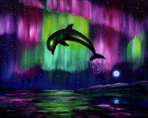 Northern Lights Painting Dolphin Playing In Northern Lights Painting By Laura Iverson