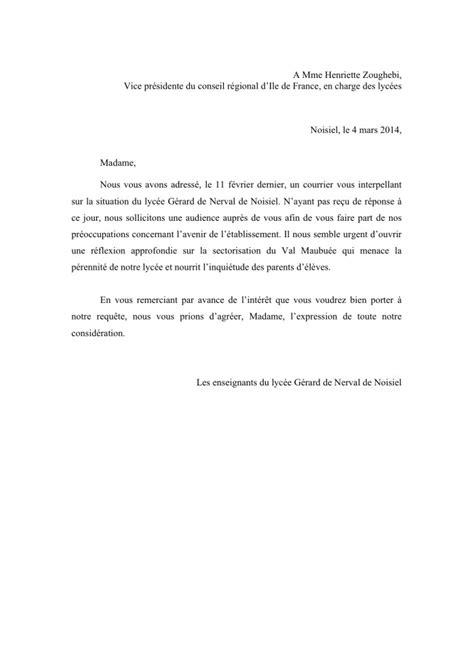 lettre de demande d audience adressee au president de la