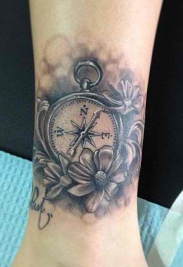 13 roses tattoo parlor black and white compass done at the constable