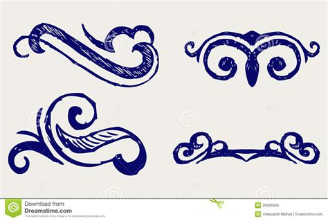 doodle element calligraphic design element doodle style vector