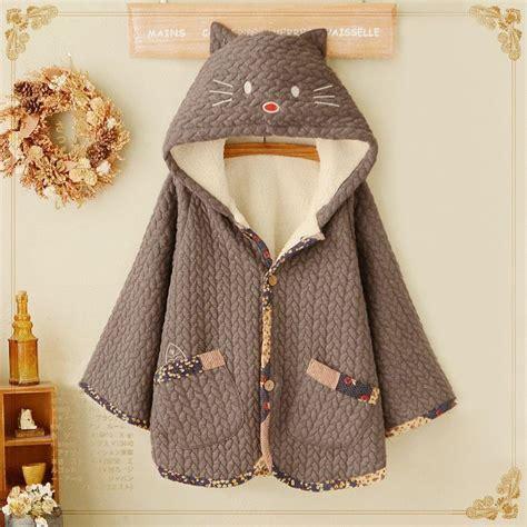 Animal Hooded Cape kawaii animal cat velvet hoodie cape cotton coat