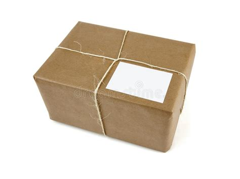 Parcel Paket Parcel U brown parcel bound with string isolated stock photo