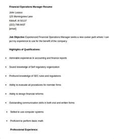 financial operations manager sle resume