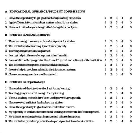 student satisfaction questionnaire template 14 student survey templates pdf doc free premium