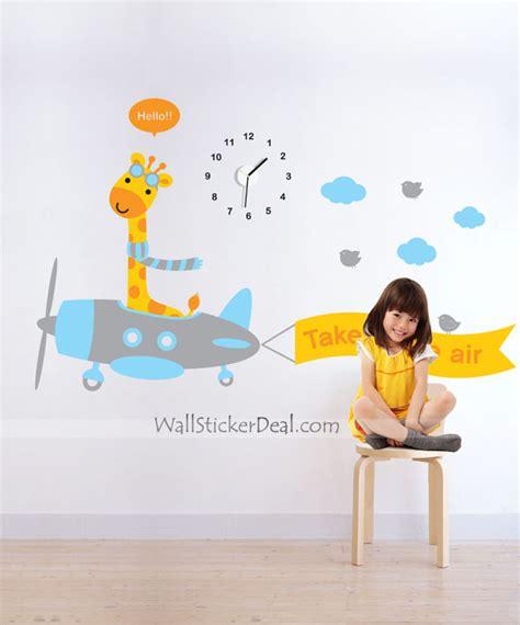 kid wall stickers clock of giraffe flier kid wall stickers wallstickerdeal