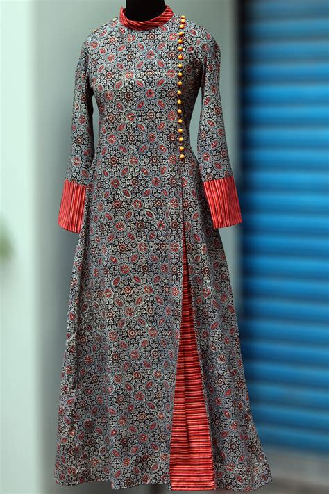 design dress cotton maati crafts multicolored cotton printed angrakha anarkali