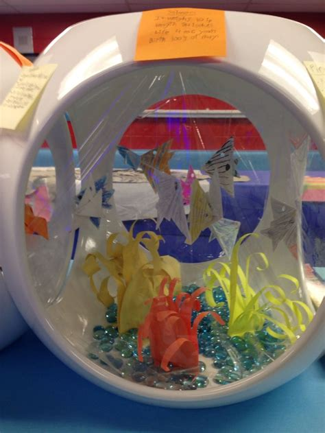 Origami Aquarium - up of origami fish aquarium by kindergarten and