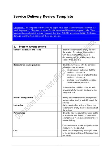 service delivery review template