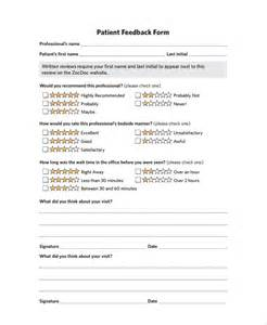 Template For Feedback Form For by Sle Patient Feedback Form 9 Free Documents
