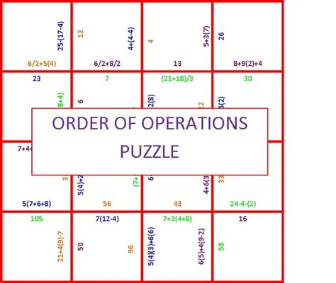 Order Of Operation Worksheets by Search Results For Worksheets Order Of Operations Puzzle