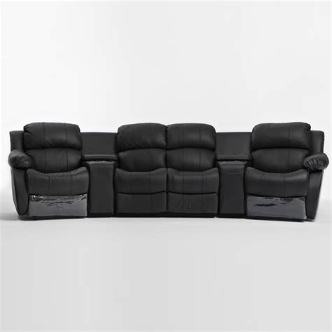 theatre leather sofa recliner 4 seat home theatre leather recliner lounge black buy