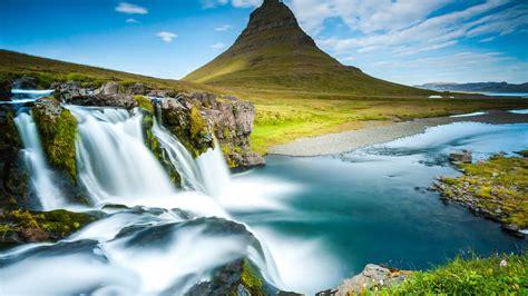 wallpaper reykjavik iceland waterfall river mountain  nature