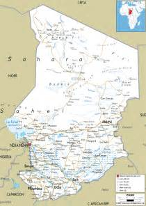 detailed clear large road map of chad ezilon maps