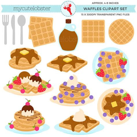 Waffle Set by Waffles Clipart Set Breakfast Food Waffle Clip Syrup