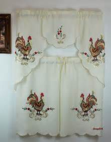 Rooster Curtains For Kitchen Rooster Sequins Kitchen Curtain With Swag And Tier Set 36 In Ebay