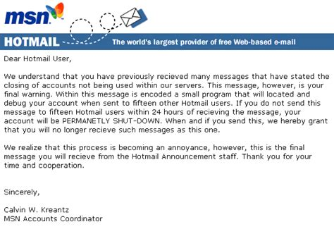 Closing Letter In Email Another Hotmail Account Closure Hoax Email