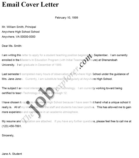 cover letter to go with an email application perfect