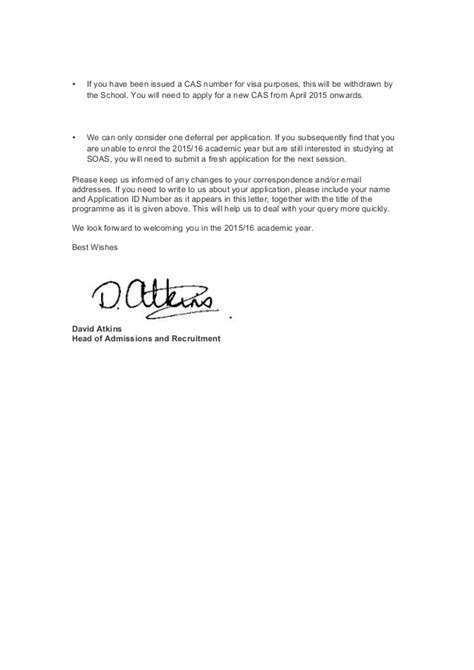 College Admission Deferment Letter soas official deferral letter