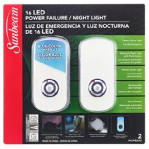 sunbeam power failure night light manual 16 led power failure night light 120v led night