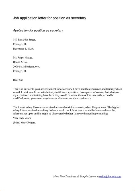 exle of formal letter for job application 14 business letter application exle basic job
