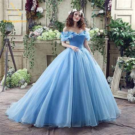 2017 Newest Sky Blue Cinderella Quinceanera Dresses Ball Gowns Sequined Sweet 16 Dress For 15