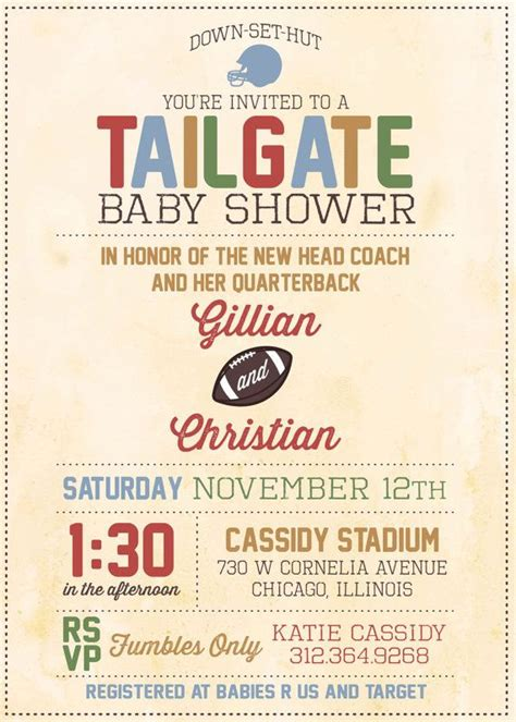Baby Shower Football Theme by Baby Shower Invitation Tailgate Football Theme By