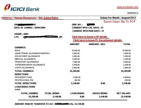 Bank Statement Of Icici Bank Letter Format Am I Assistant Manager Band I Icici Salary Slip Salary Details Pay Structure