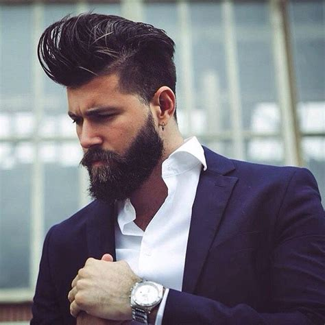 pompadour hairstyle with beard pompadour hairstyle for men modern and pompadour fade