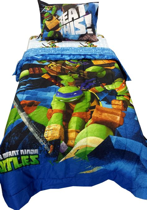 ninja turtle beds 4pc tmnt nunchucks twin bedding set