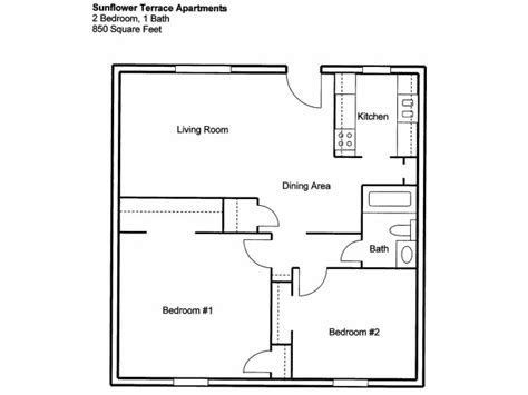 2 bedroom one bath apartment floor plans sunflower terrace