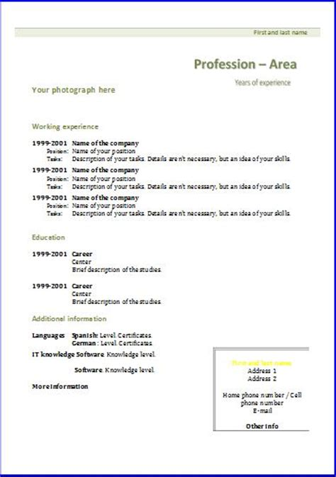 cv templates chronological 1 resume templates