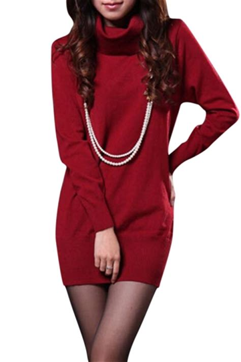 Plain Turtleneck Knit Dress womens plain turtleneck sleeve pullover knit sweater