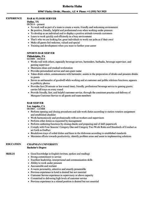 server objective resume food server bartender objective resume