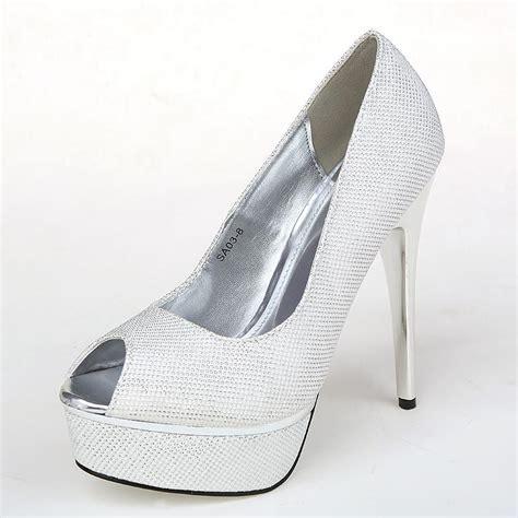 bridal shoes 2015 new style fashion silver heels wedding