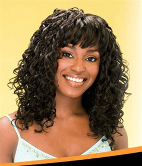 Weave Hairstyles With Bangs by Curly Weave Hairstyles With Bangs Alslesslethal