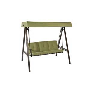shop garden treasures 3 seat steel casual cushion swing at lowes