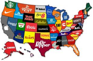 map of us what states are known for map the most brand from every state the atlantic