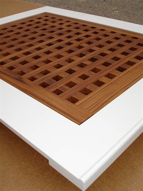 corian shower tray with teak lattice cover san souci