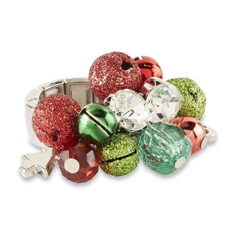 holiday editions women s silvertone christmas stretch ring