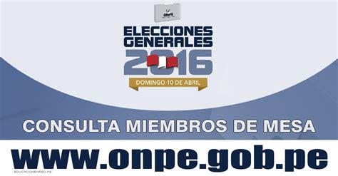 reniec consulta si es mienbro de mesa 2016 consulta para miembros de mesa elecciones 2016 miembro de