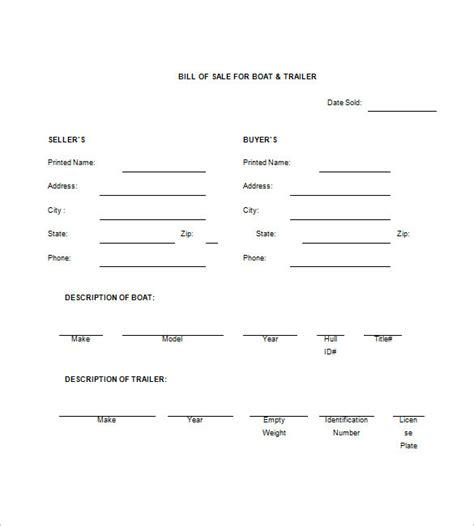 bill of sale template for trailer trailer bill of sale 8 free word excel pdf format
