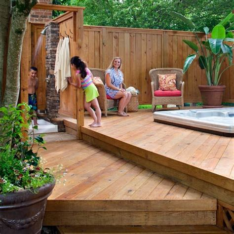 wood deck  hot tub  privacy fence archadeck