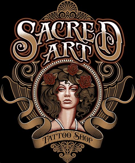tattoo artist logo sacred art tattoo shop logo on behance