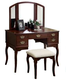 Bedroom Set With Makeup Vanity 5 Drawer Make Up Vanity Tri Folding Mirror Padded Bench 3 Set Traditional Bedroom