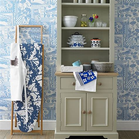 kitchen wallpaper ideas uk kitchen with pale blue patterned wallpaper decorating