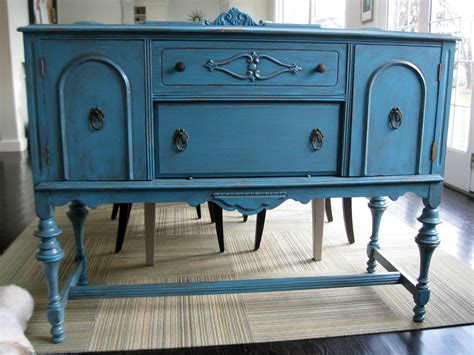 antique sideboard server buffet teal blue old is new