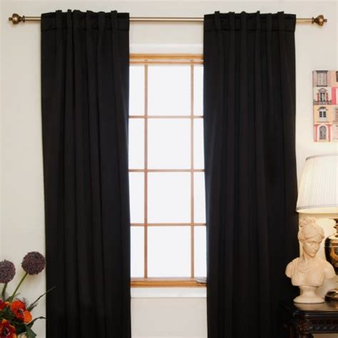 108 inch length curtains black rod pocket energy saving thermal insulated blackout