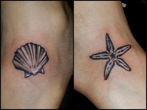 sea shell tattoo seashell and starfish by chris vangeli of amaryllis