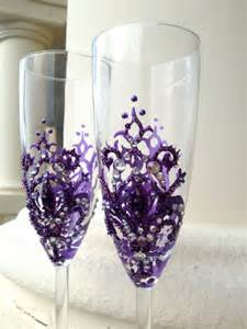 Fleur De Lis Champagne Flutes Wedding Champagne Glasses With A Fleur De Lis Decoration In Purple With Silver Crystals